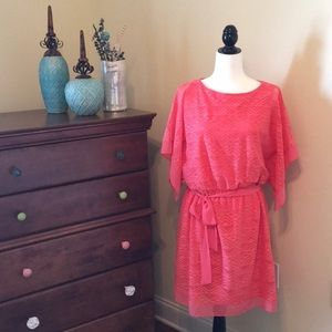 Like New Coral AGB Summer/Spring Tie Waist Dress